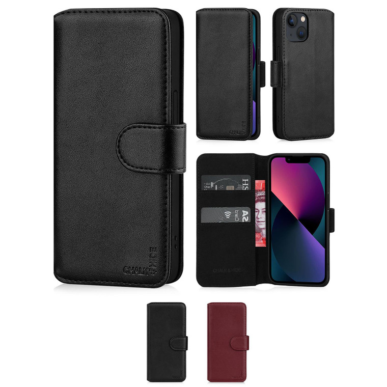 """Chalk & Hide Real Leather Book Wallet Case for Apple iPhone 13 (6.1"""")"""