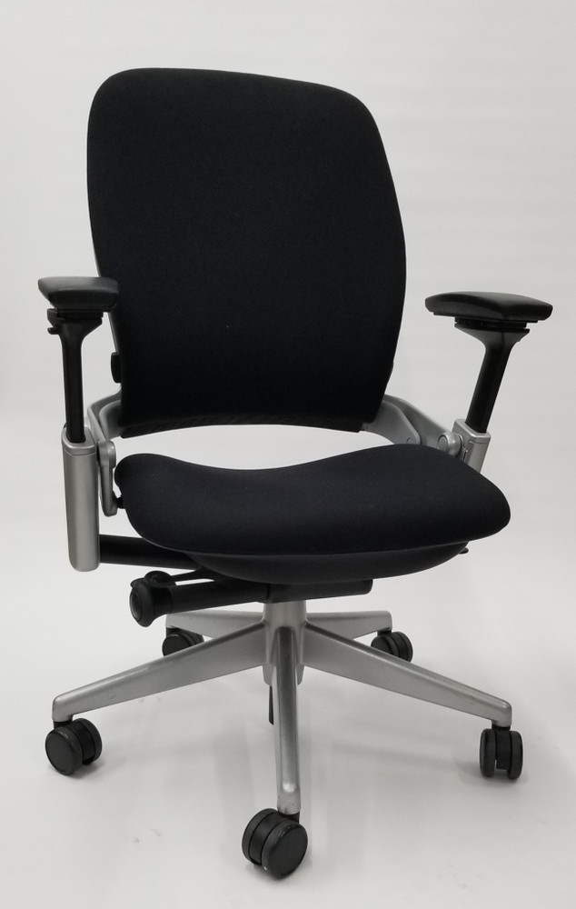 Steelcase Leap Chair V2 In Black Fabric and In Platinum Titanium Base