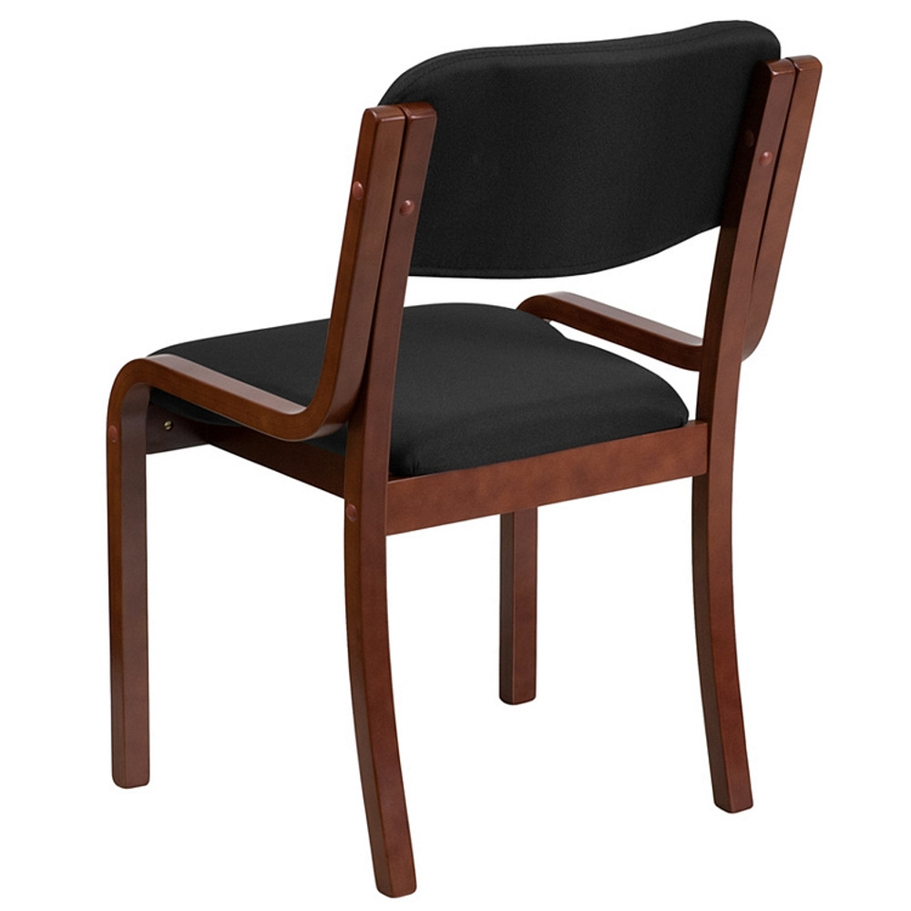 . Flash Furniture Contemporary Walnut Wood Side Reception Chair with Black  Fabric Seat