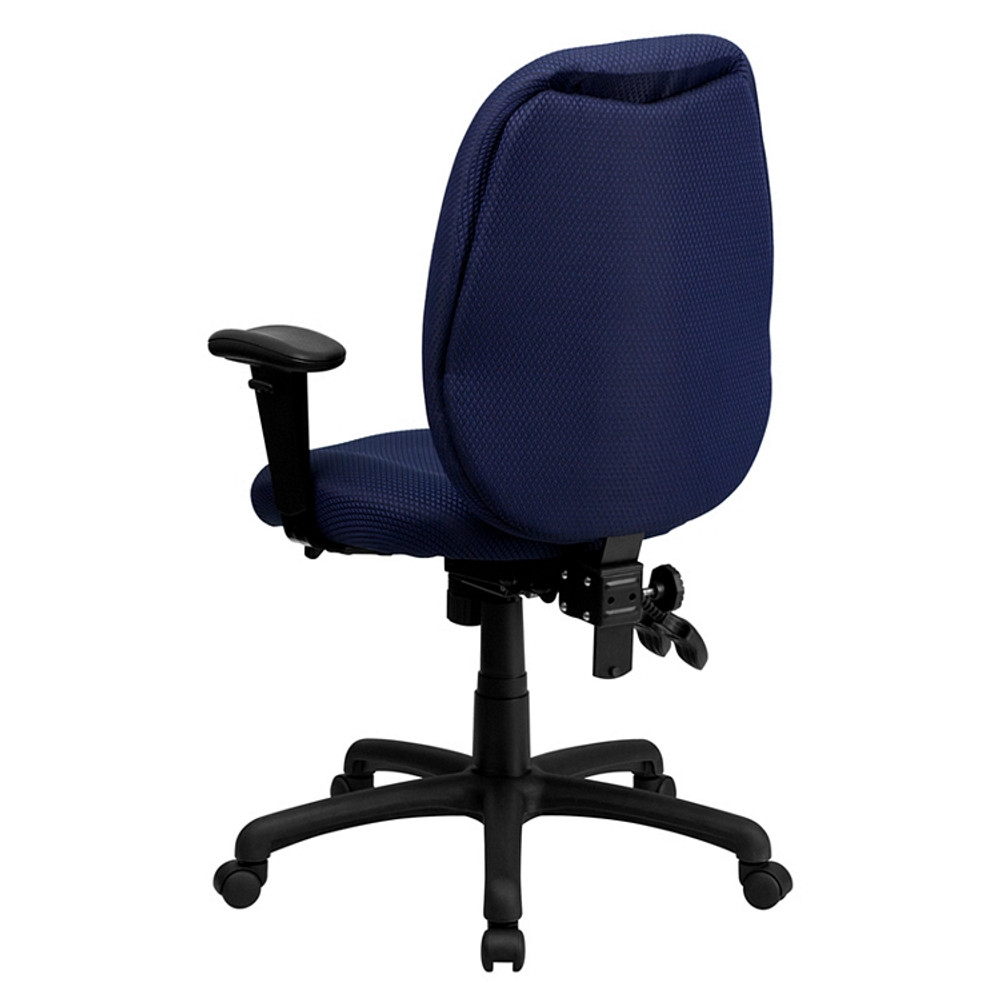 Flash Furniture High Back Navy Fabric Multifunction Ergonomic Executive Swivel Chair with Adjustable Arms