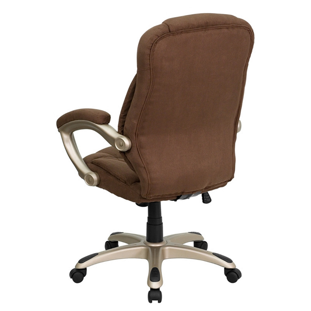Superb Flash Furniture High Back Brown Microfiber Contemporary Executive Swivel Chair With Arms Pdpeps Interior Chair Design Pdpepsorg