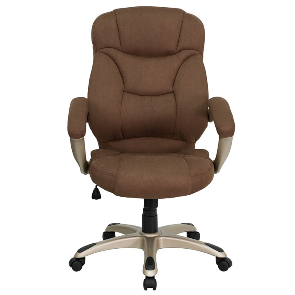 Groovy Flash Furniture High Back Brown Microfiber Contemporary Executive Swivel Chair With Arms Pdpeps Interior Chair Design Pdpepsorg