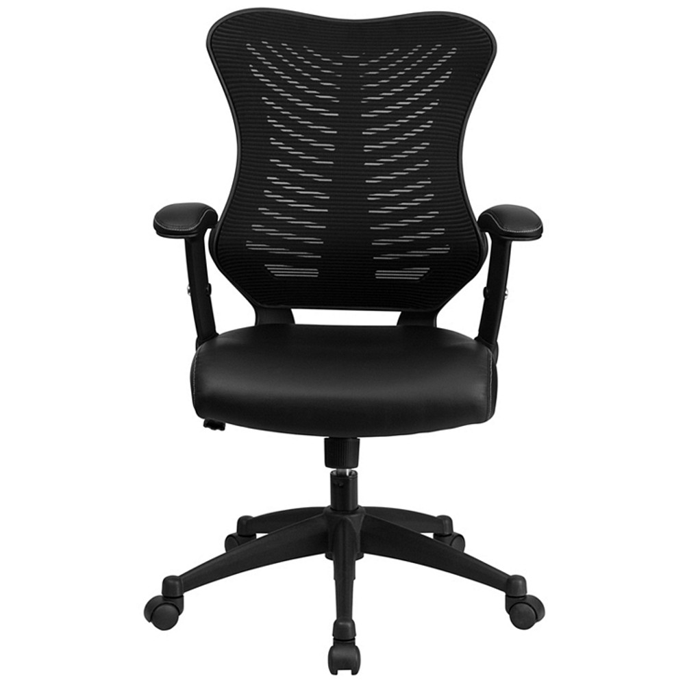 Flash Furniture High Back Designer Black Mesh Executive Swivel Chair with Leather Seat and Adjustable Arms