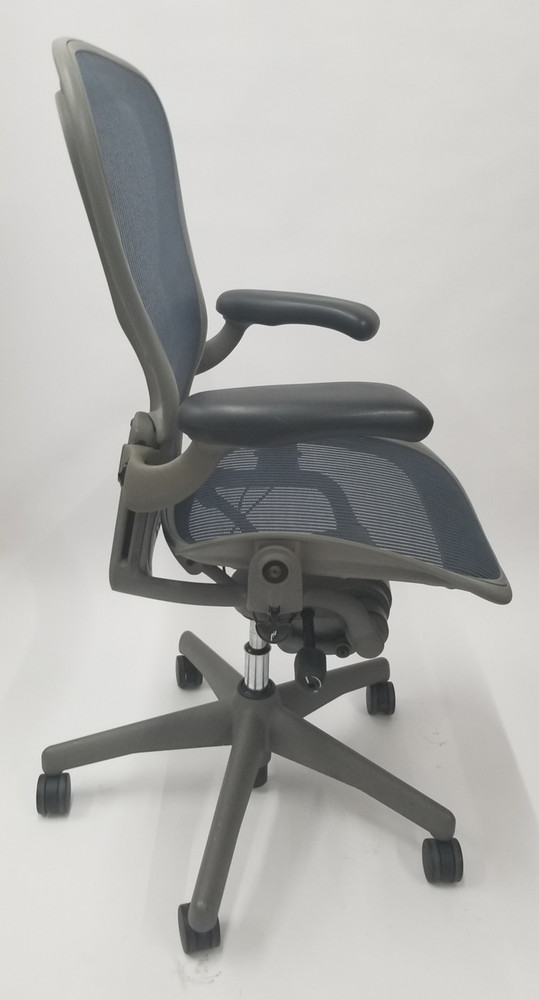 Herman Miller Aeron Chair Size B Gray Base Navy Mesh with Lumbar