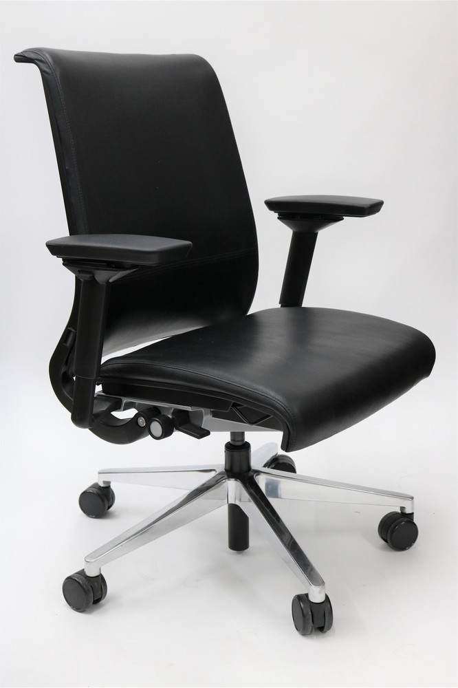 Steelcase Think Chair Black LEATHER Back 4-D Adjustable Arms