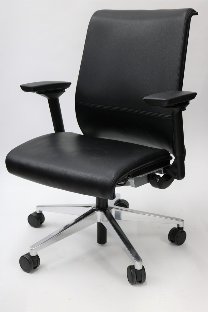 Think Chair By Steelcase Black LEATHER Back 4-D Adjustable Arms