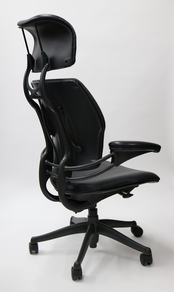 Freedom Chair by Humanscale Fully Adjustable Model With Headrest in Black Leather