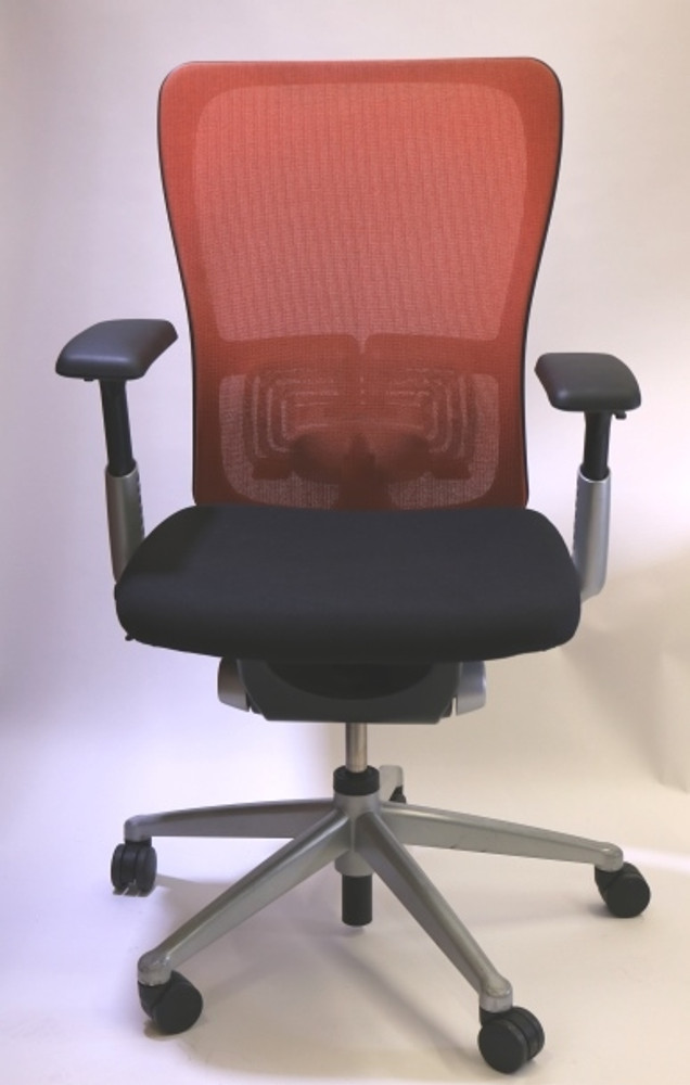 Haworth Zody Chair Mesh Back Fully Adjustable Model in Orange/Black