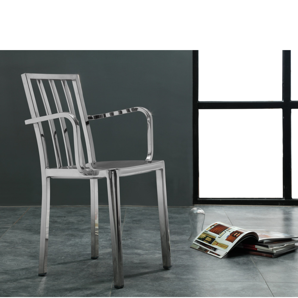 Eve Steel Dining Arm Chair Polished Steel by Fine Mod
