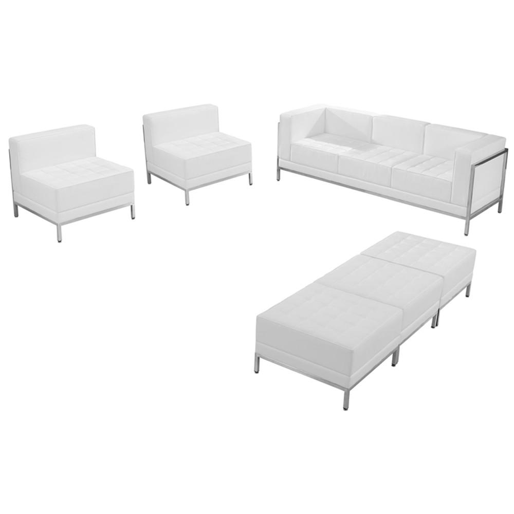 Imagination Office Series Melrose White Leather Sofa Chair & Ottoman Set by  Lemoderno