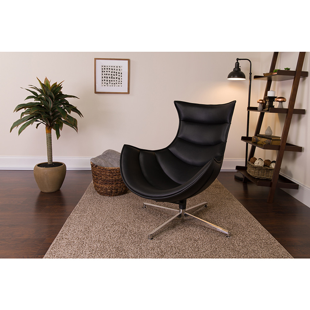 Bomber Black Leather Swivel Cocoon Chair by Lemoderno