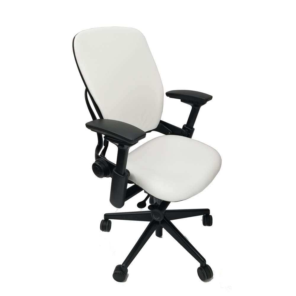 Refurbished Steelcase Leap Chair V36 In Leather White
