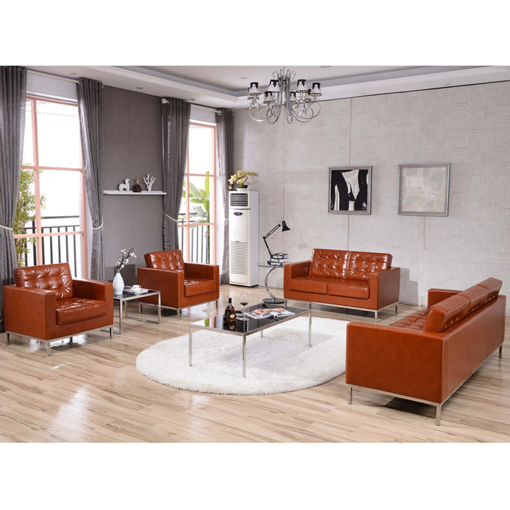 Enjoyable Lacey Series Contemporary Cognac Leather Chair With Stainless Steel Frame By Lemoderno Creativecarmelina Interior Chair Design Creativecarmelinacom