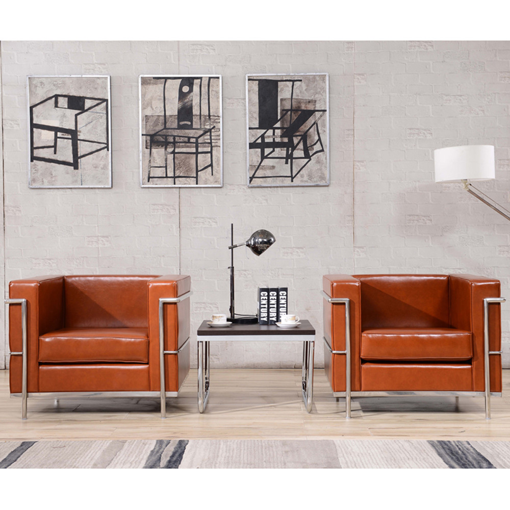 Cool Regal Series Contemporary Cognac Leather Chair With Encasing Frame By Lemoderno Creativecarmelina Interior Chair Design Creativecarmelinacom