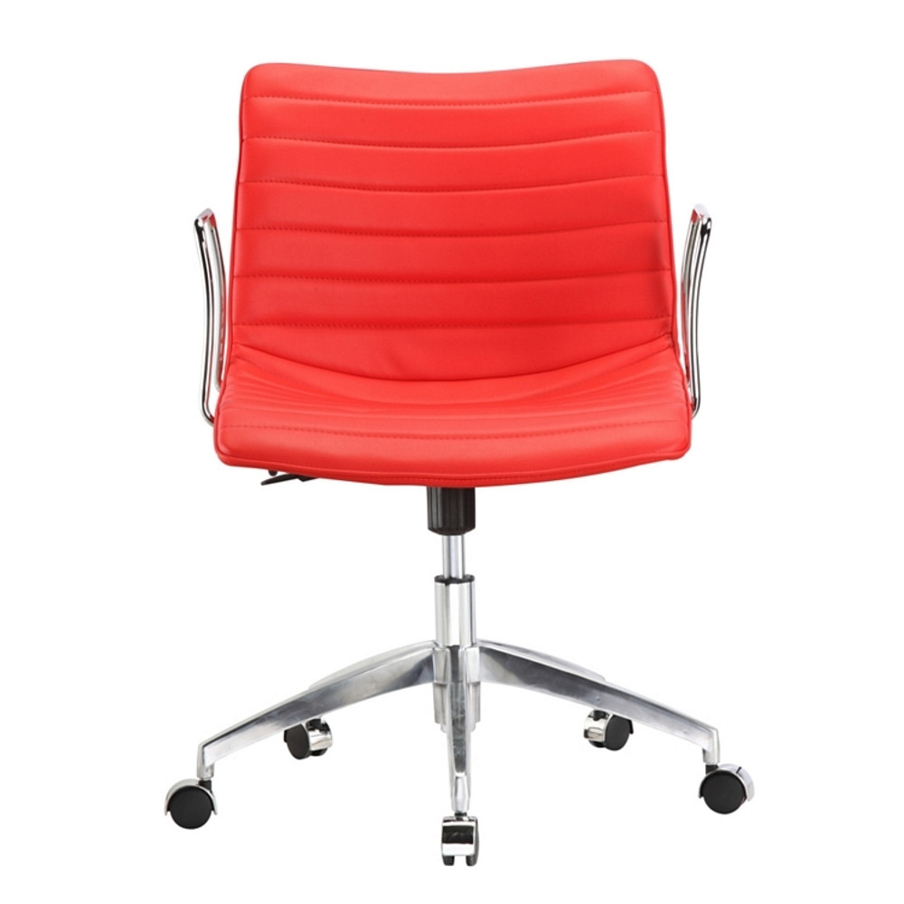 Comfy Office Chair Mid Back, Red by Fine Mod