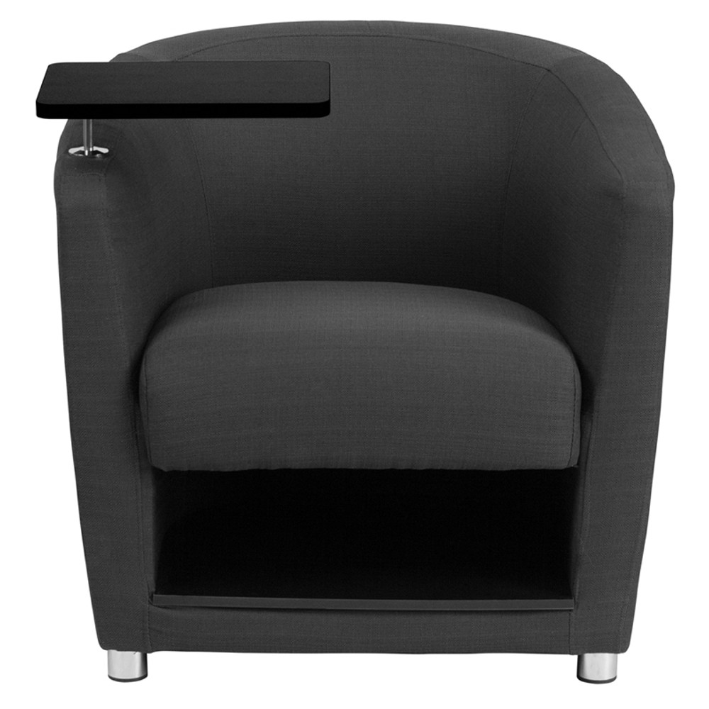 Charcoal Gray Fabric Guest Chair With Tablet Arm Chrome