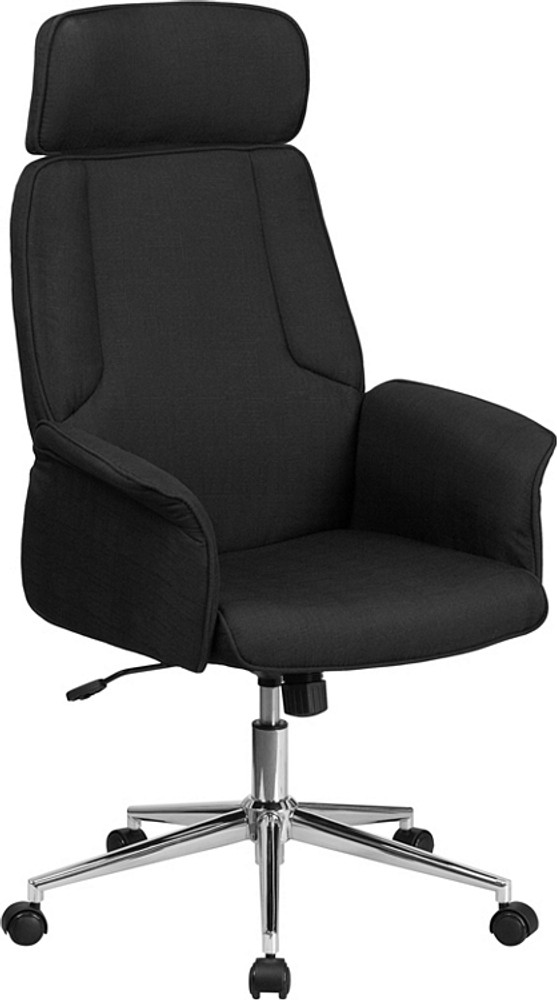 Bulk Qty 25 Lemoderno High Back Black Fabric Executive Swivel Chair with Chrome Base and Fully Upholstered Arms