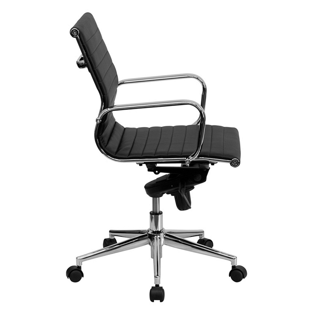 Bulk Lot 12 Lemoderno Mid-Back Black Ribbed Leather Swivel Conference Chair with Knee-Tilt Control and Arms