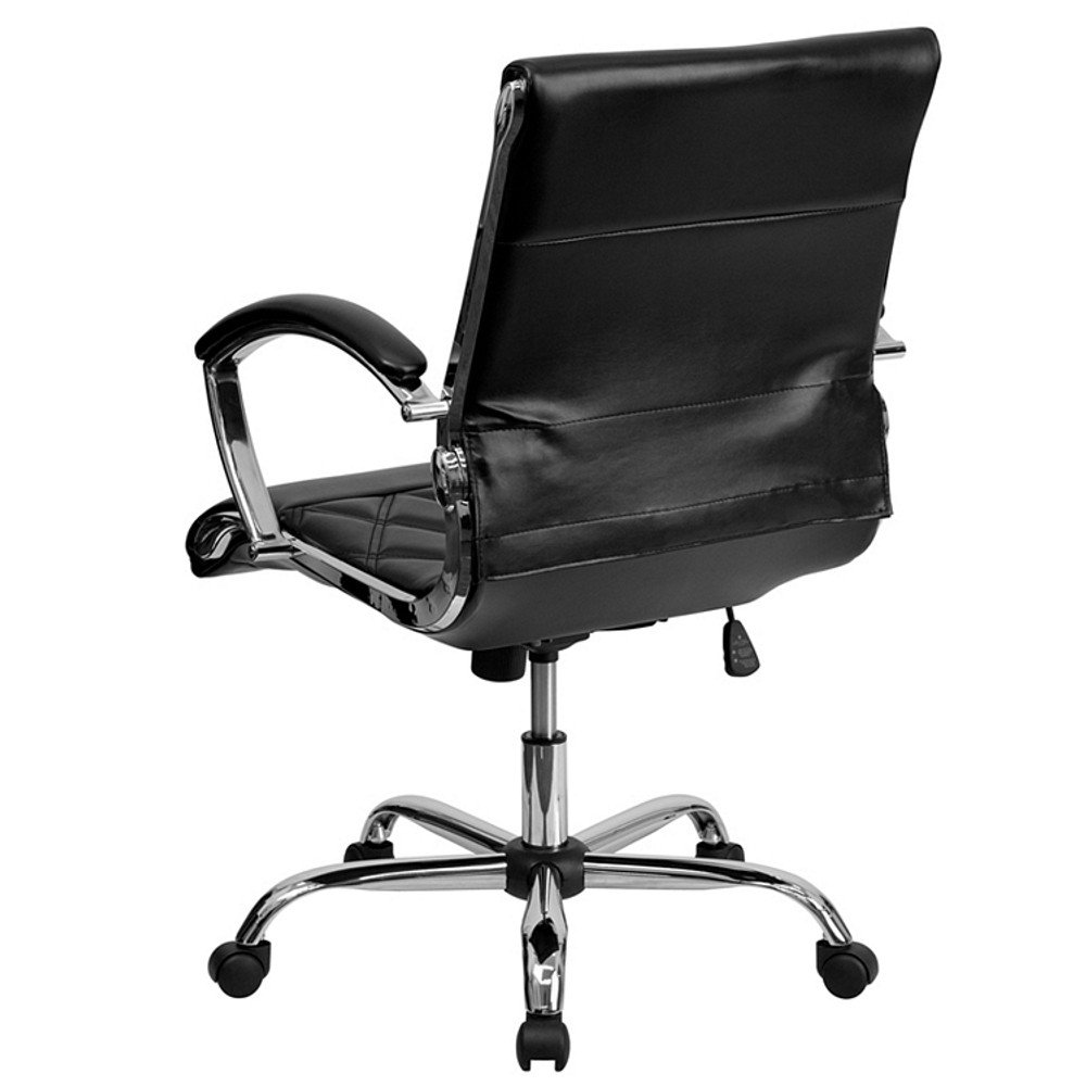 Bulk Lot 12 Lemoderno Mid-Back Designer Black Leather Executive Swivel Chair with Chrome Base and Arms