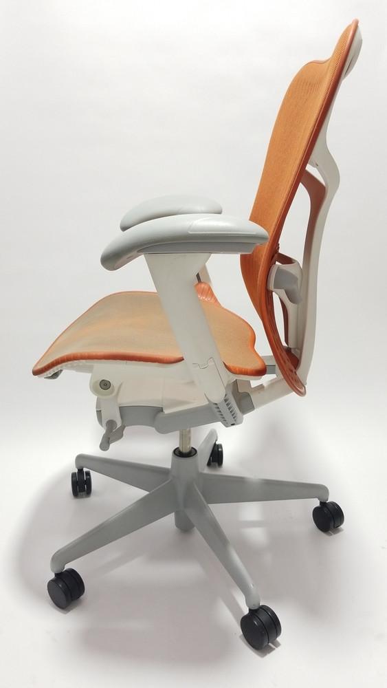 Herman Miller Mirra V2 Chair In Orange Fully Adjustable Model With Adjustable Lumbar Support