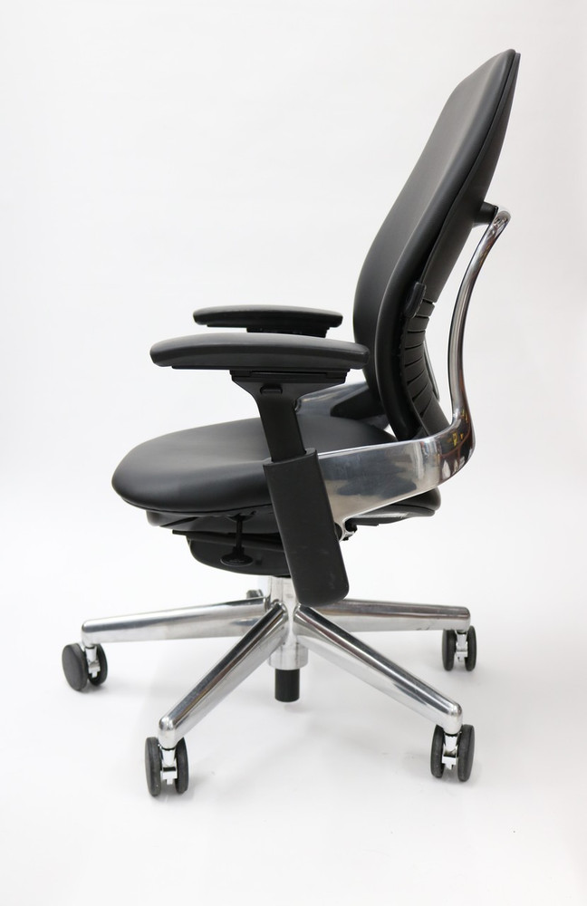 Leap Chair V2 By Steelcase Black Leather Polished Aluminum Base With 4 Way Pivot Armrests