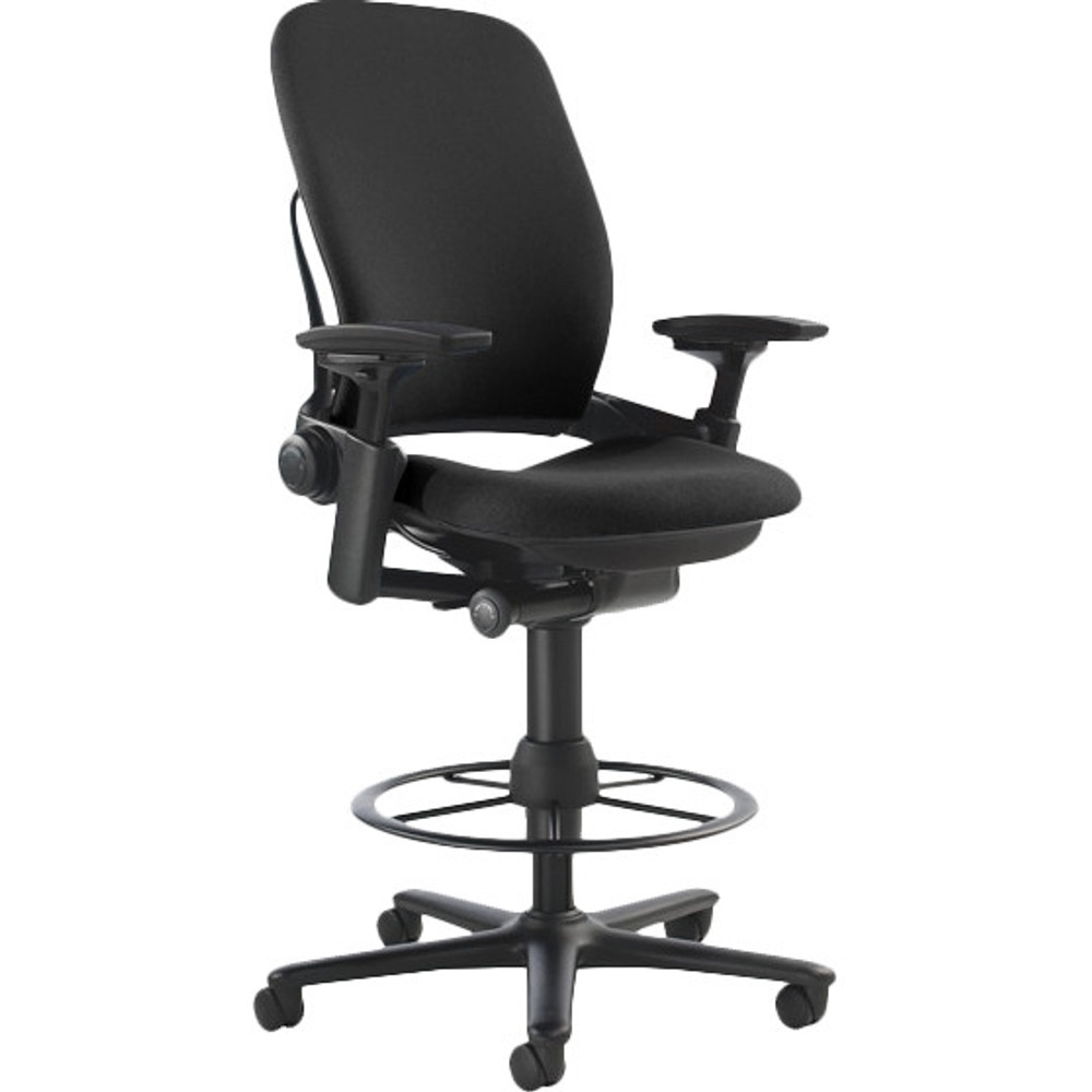 Refurbished Steelcase Leap V2 Drafting Work Stool Chair in Black