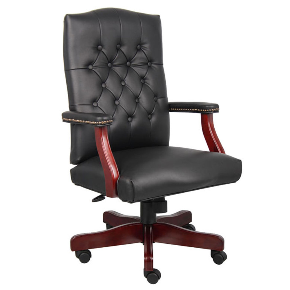 Boss Classic Black Caressoft Chair With Mahogany Finish Frame B905-BK