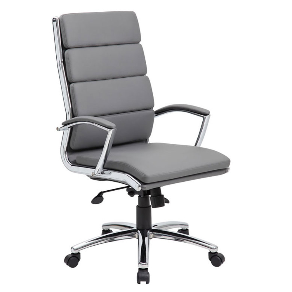 Boss Executive CaressoftPlus Chair with Metal Chrome Finish B9471-GY