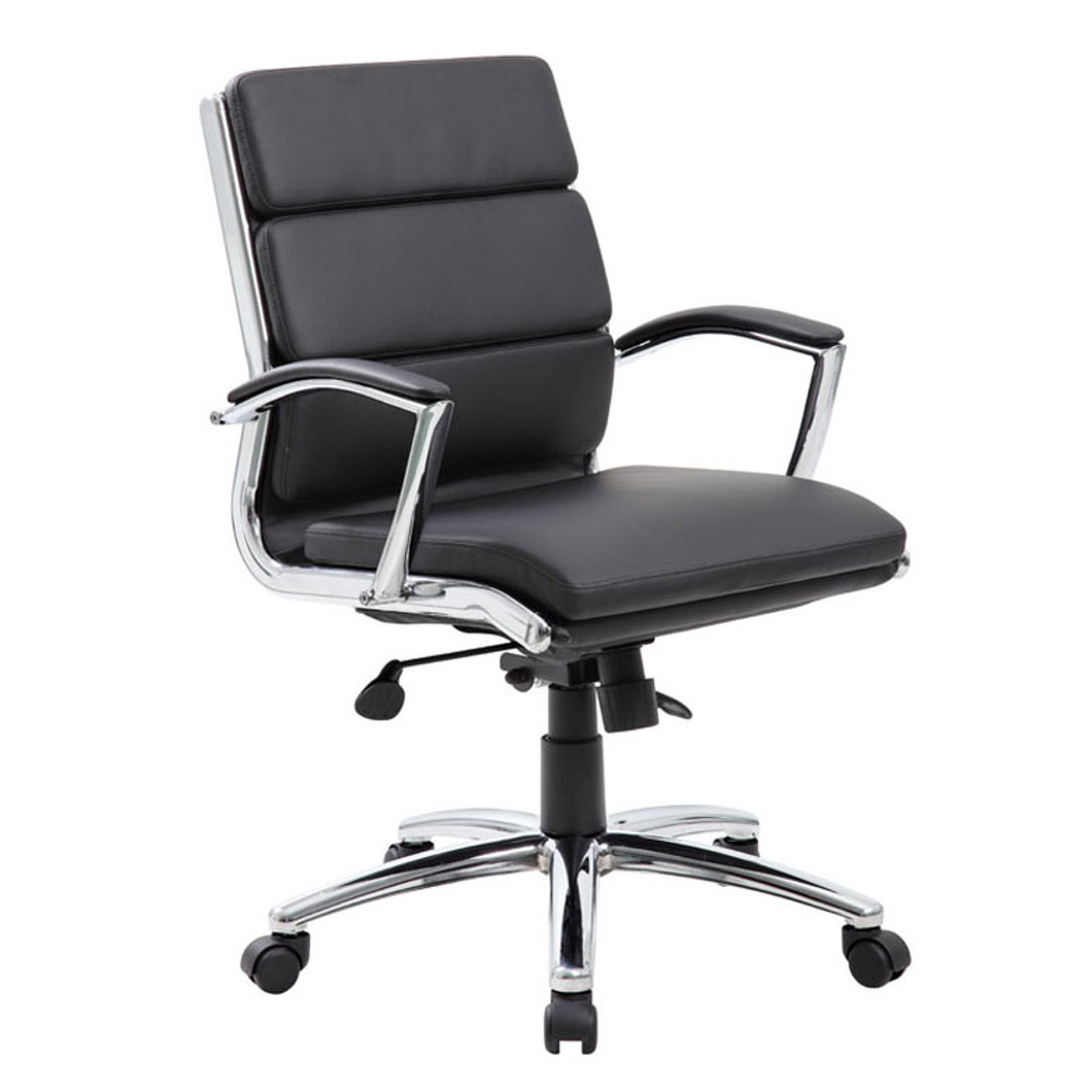 Boss Executive CaressoftPlus Chair with Metal Chrome Finish - Mid Back B9476-BK