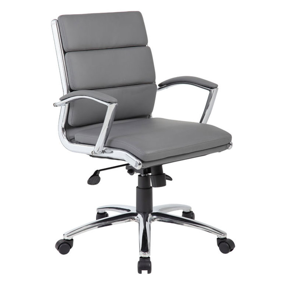 Boss Executive CaressoftPlus Chair with Metal Chrome Finish - Mid Back B9476-GY