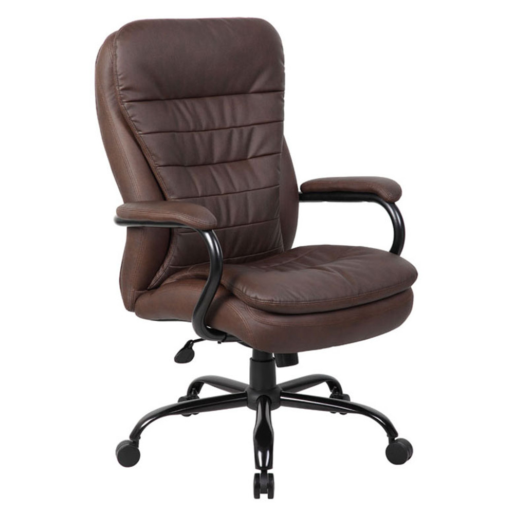 Boss Heavy Duty Double Plush LeatherPlus Chair - 350 Lbs.  B991-BB