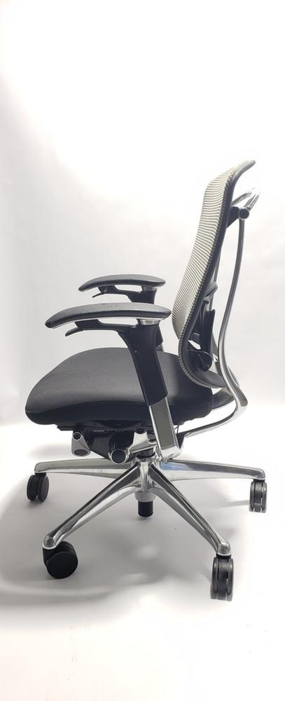 Refurbished Nuova Contessa Teknion Beige Mesh Back and Black Seat, Fully Adjustable Model