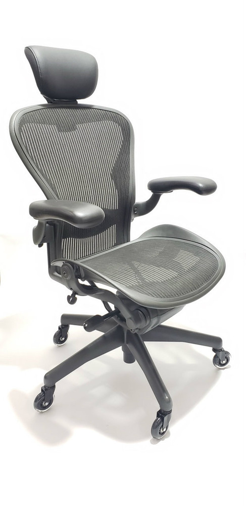 best website 63014 7a26e Herman Miller Aeron Chair Fully Featured Size B Gray, FREE Headrest, FREE  Rollerblade Casters
