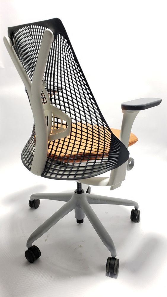 Herman Miller Sayl Chair White and Gray Frame and Orange Seat