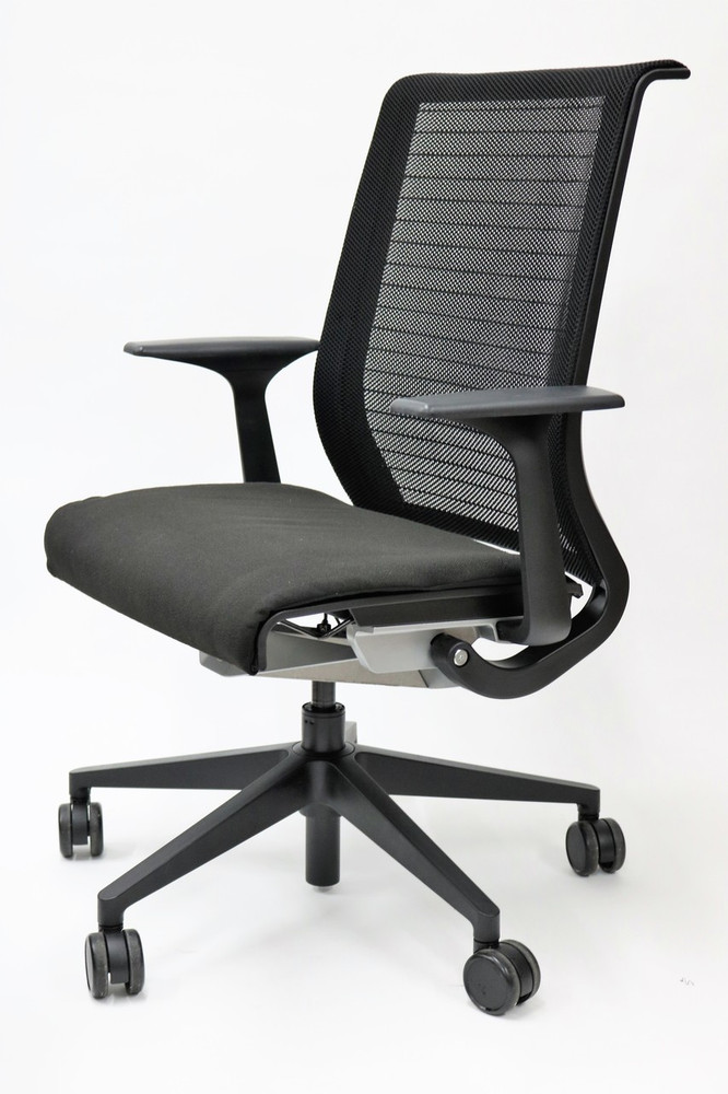 Steelcase Think Chair Black Fabric Seat and Black mesh Great for Conference Room