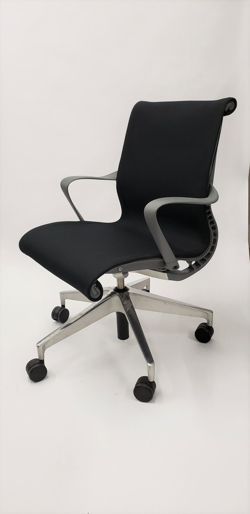 Herman Miller Setu Chair Black Fabric Padded