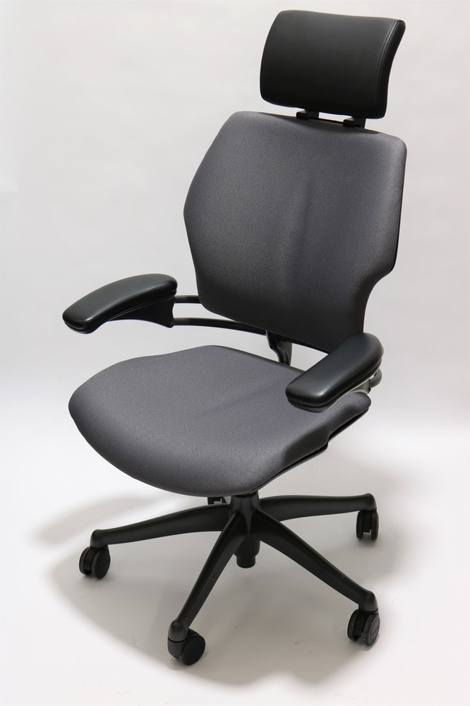 Humanscale Freedom Chair Added Headrest Fully Adjustable Model Gray Fabric
