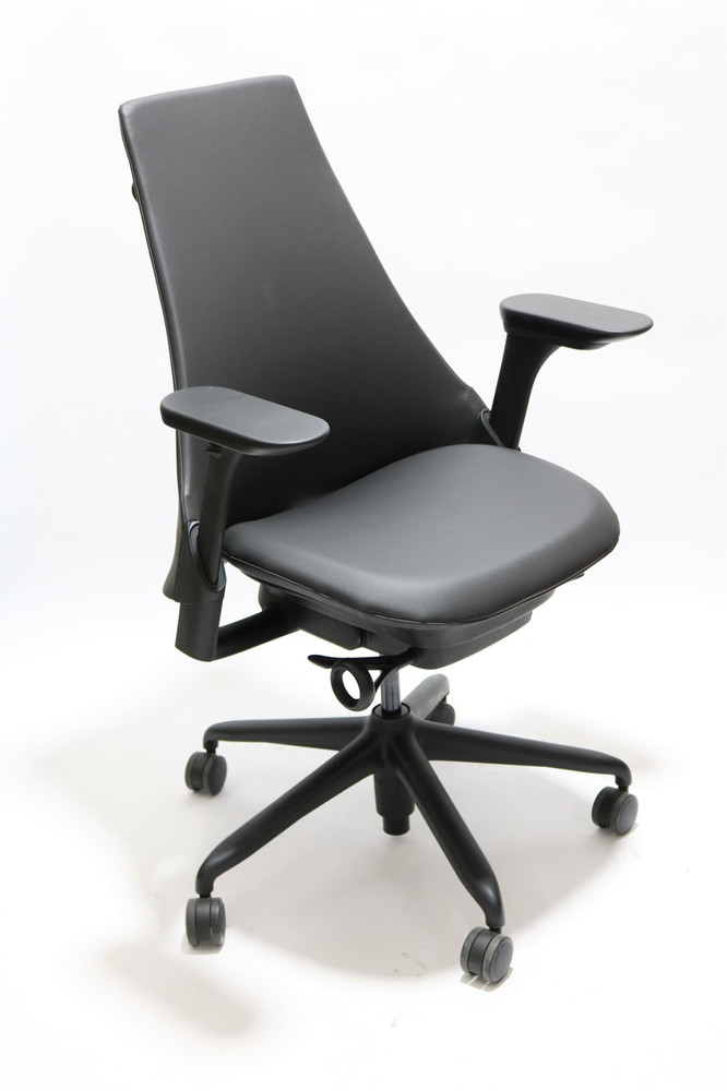 Herman Miller Sayl Chair Black Soft Leather Upholstered with Fully Adjustable Arms