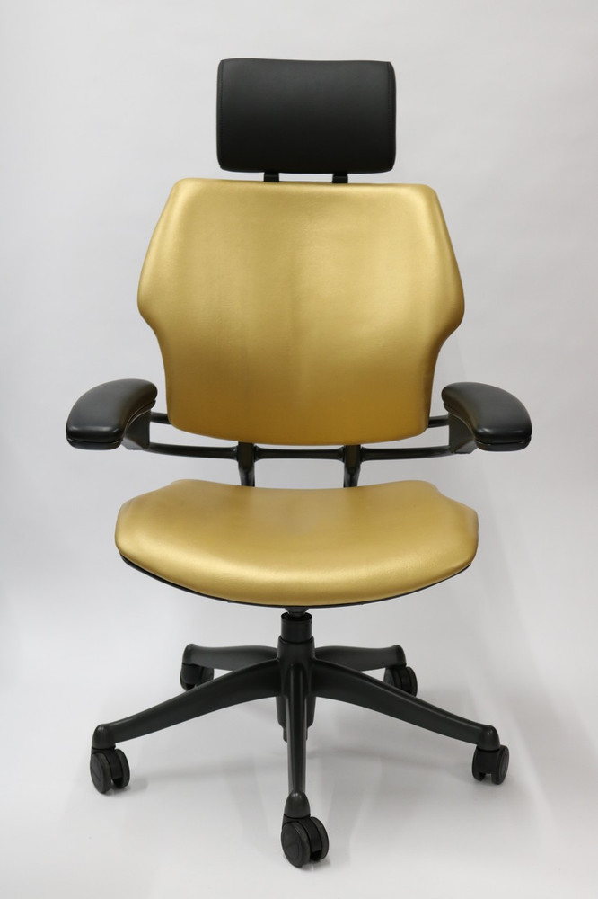 Humanscale Freedom Chair Fully Adjustable Model With Added Headrest Gold Leather
