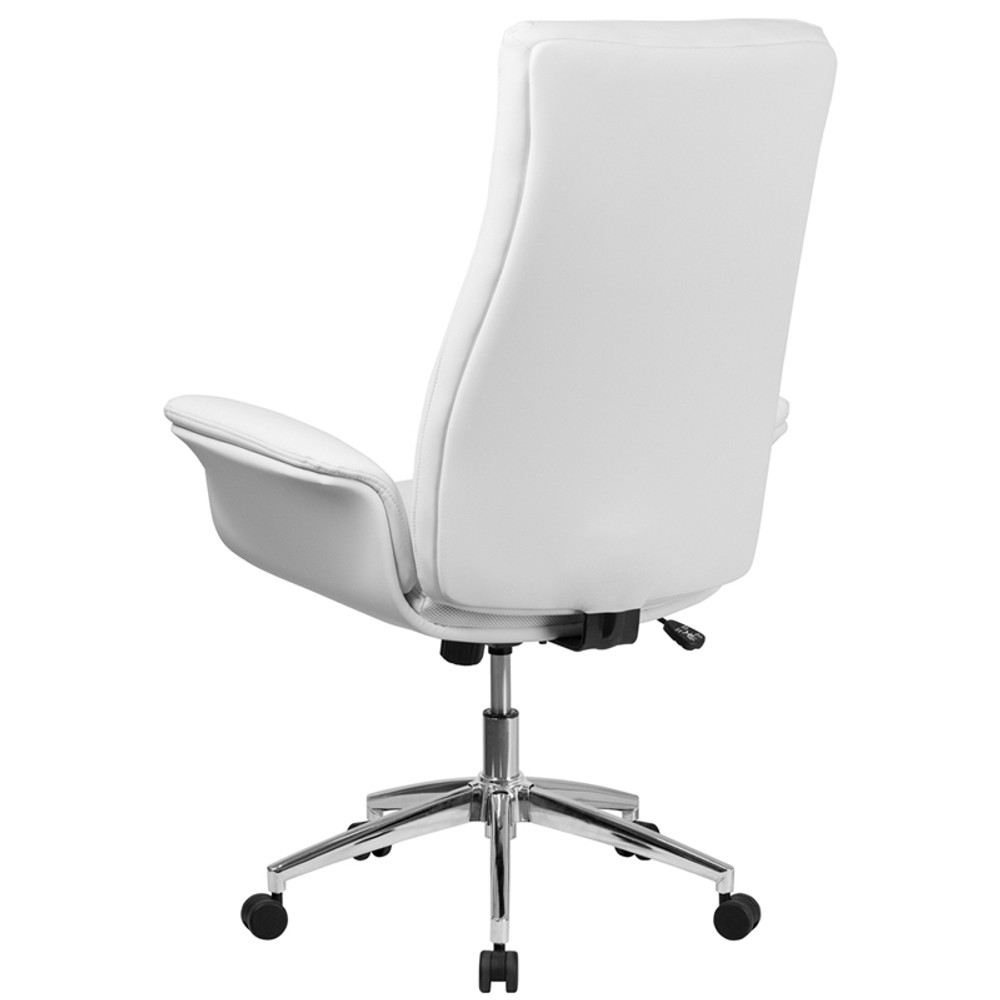 Flow High Back White Leather Executive Swivel Office Chair with Flared Arms  by Lemoderno