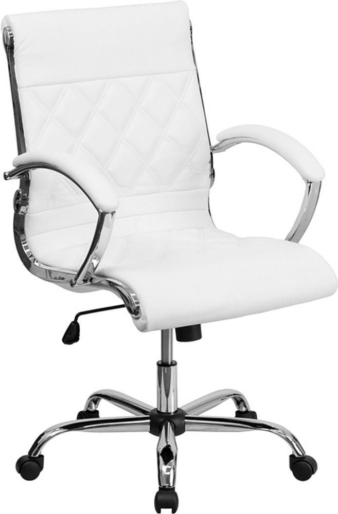 Des Mid-Back Designer White Leather Executive Swivel Chair with Chrome Base and Arms by Lemoderno