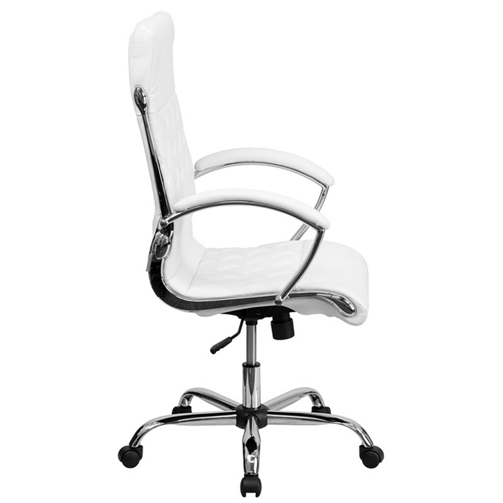Des High Back Designer White Leather Executive Swivel Chair with Chrome Base and Arms by Lemoderno