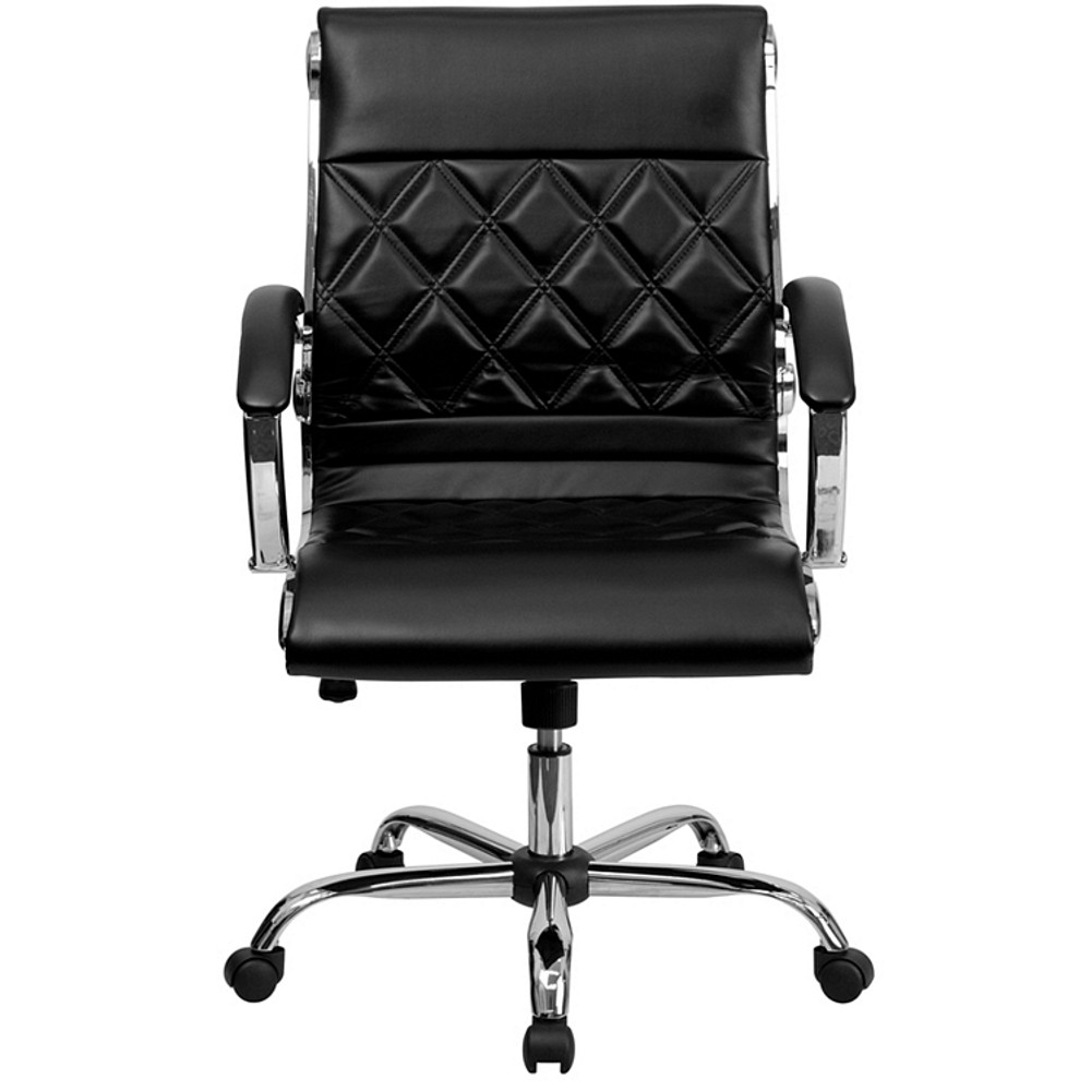 Des Mid-Back Designer Black Leather Executive Swivel Chair with Chrome Base and Arms by Lemoderno