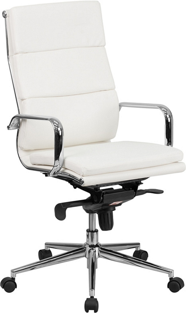 Magnificent So High Back White Leather Executive Swivel Chair With Synchro Tilt Mechanism And Arms By Lemoderno Squirreltailoven Fun Painted Chair Ideas Images Squirreltailovenorg