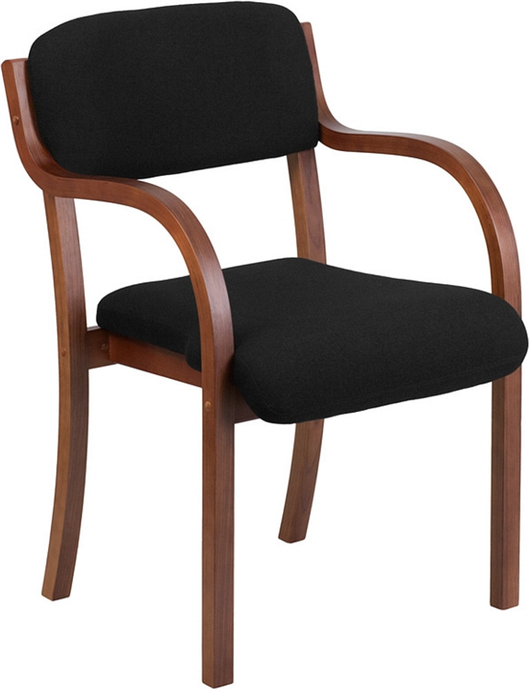. Flash Furniture Contemporary Walnut Wood Side Reception Chair with Arms and  Black Fabric Seat