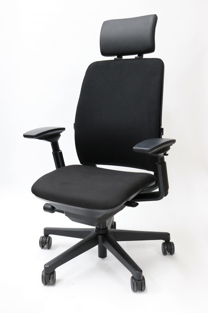 Amia Chair By Steelcase With Headrest Fully Adjustable Model Black Fabric