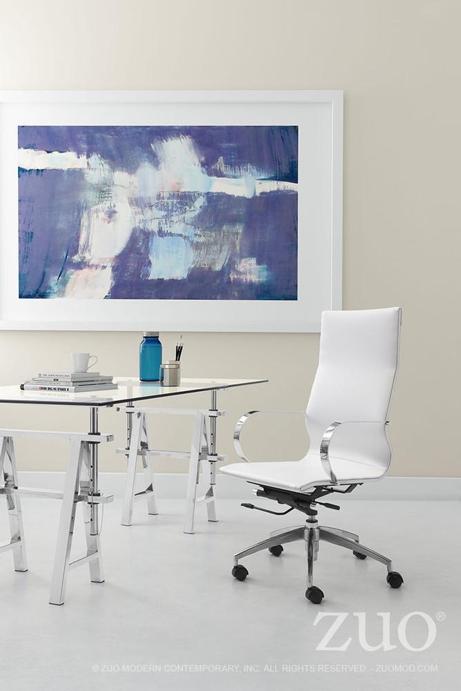 Zuo Modern Glider Hi Back Office Chair White