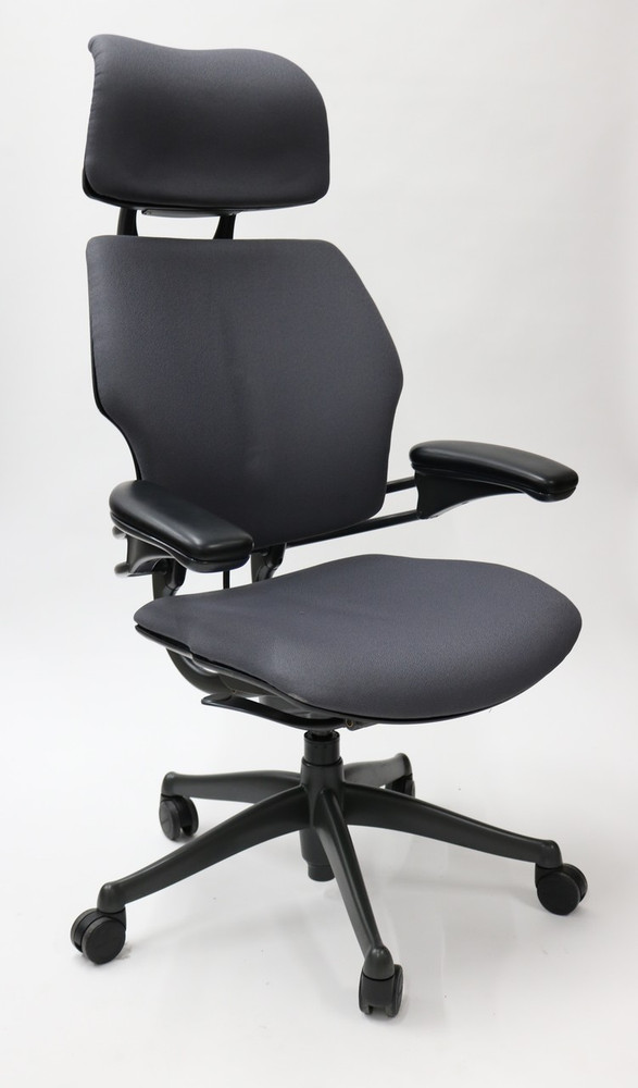 Freedom Chair By Humanscale Fully Adjustable Model With Headrest Gray