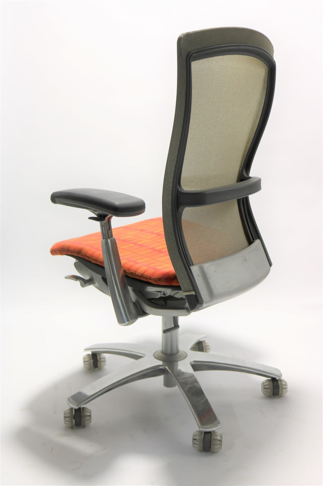 Knoll Life Chair Gray Mesh Back Orange Seat + Adjustable Arms