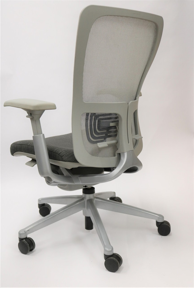 Zody Chair by Haworth Platinum  Frame and Gray Mesh and Black Fabric Seat